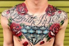 Red roses tattoo on the chest