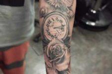 Rose, clock and bird tattoo