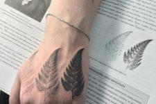 Three ferns tattoo on the hand