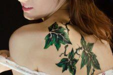 Three leaves tattoo on the back