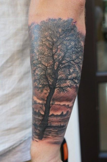 Tree and field tattoo