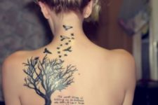 Tree, birds and important words tattoo