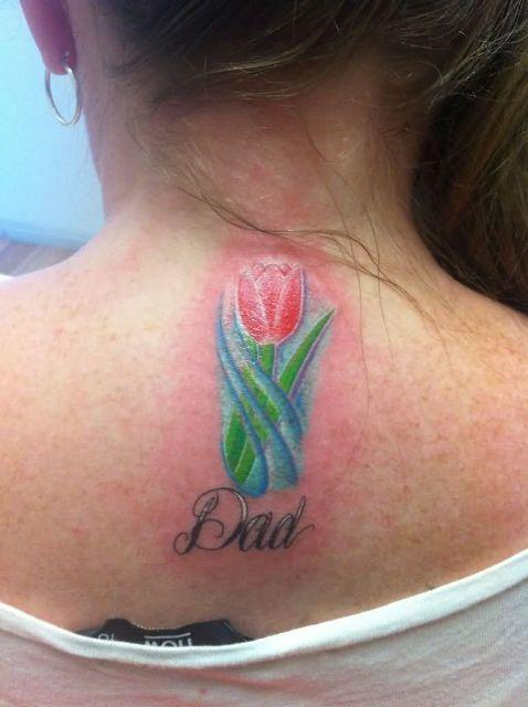 Tulip tattoo on the neck