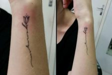 Tulip tattoo with word