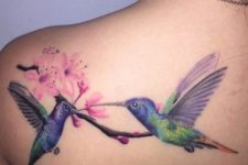 Two birds and cherry blossom tattoo
