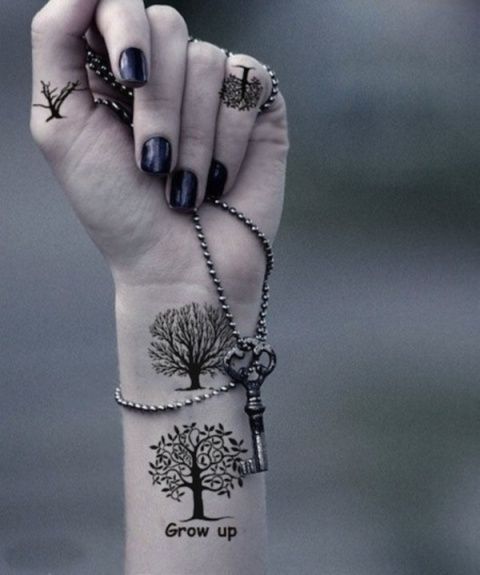 Two tree tattoos on the wrist