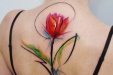 Unique floral tattoo on the back