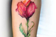 Watercolor red tulip tattoo