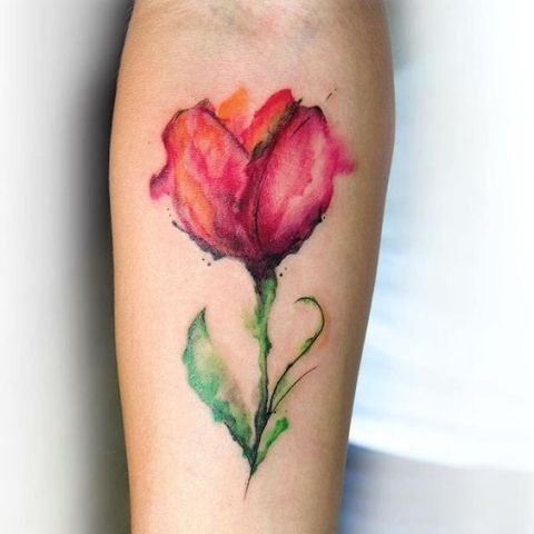 Watercolor red tulip tattoo