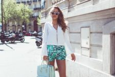 With blouse, platform shoes and light blue bag