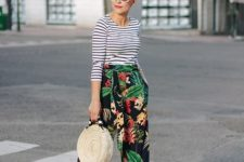 summer look with floral pants