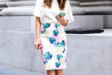 With white blouse and yellow sandals