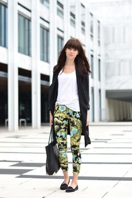 With white t shirt, black long cardigan, flats and tote