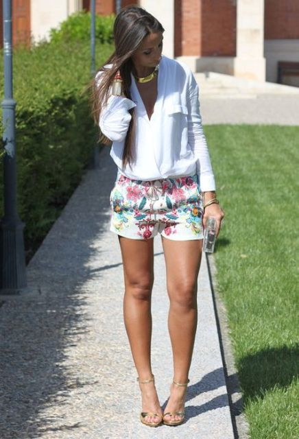 With wrap shirt and golden high heels