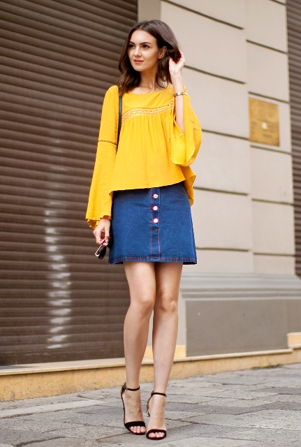 yellow and denim summer look