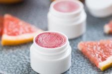 DIY pink grapefruit lip balm