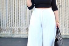 black and white curvy girl office look