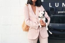 02 a blush pantsuit, a straw bag and glasses to rock to an office in summer