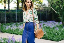 summer look with a floral shirt