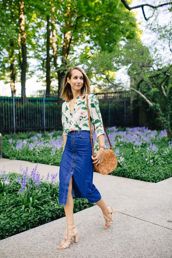 a floral shirt, a blue denim pencil skirt, nude strappy heels with tassels