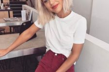 02 a white tee and a burgundy denim mini skirt for a trendy summer look