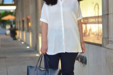 02 navy pants, a white semi sheer long shirt, nude shoes and a black bag for a more casual look