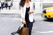 03 a black midi dress, a white jacket, creamy strappy heels and a brown bag for a stylish work look