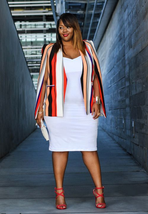 a bright curvy girl work look with a striped coverup, a white bodycon dress, and red strappy heels
