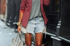 03 a grey printed tee, a red printed jacket, denim shorts, white sneakers and a grey bag