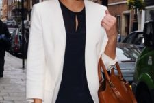 03 a navy top, a tan mini, a white blazer and a large brown leather bag for a cool look