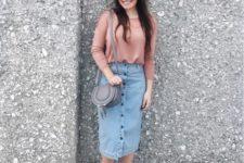 03 a pink shirt, a blue button down pencil denim skirt and silver mules