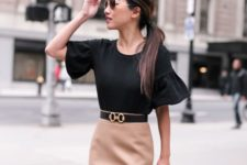 04 a camel pencil skirt, a black shirt with ruffled short sleeves and a blaack bag