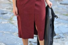 04 a white shirt, a burgundy wrap midi skirt, leopard heels and a black leather jacket if needed