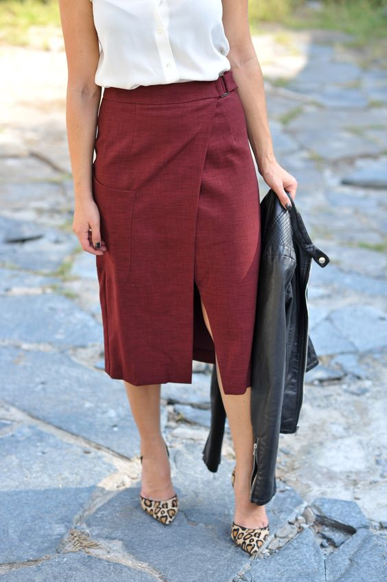 a white shirt, a burgundy wrap midi skirt, leopard heels and a black leather jacket if needed