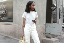 04 a white tee, white cropped jeans with a raw hem, black heels and a straw bag