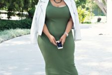 04 an olive green maxi bodycon dress, a white suede jacket and white heels for a wow look