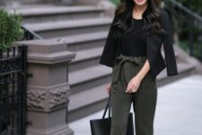 04 green high waisted pants, a black top, a black cropped blazer, blush shoes and a black bag