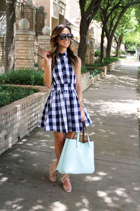 04a blue and white plaid sleeveless short summer dress, nude wedges and a ming bag