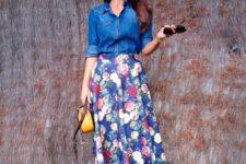 05 a denim shirt, a bold floral midi, burgundy vlevet flats and a yellow bag