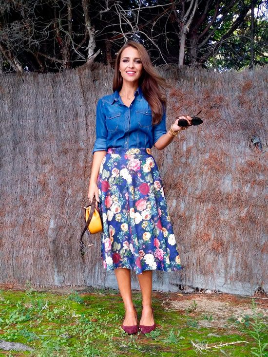 a denim shirt, a bold floral midi, burgundy vlevet flats and a yellow bag