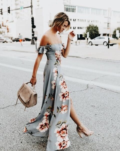a grey floral print off the shoulder maxi dress with a slit, blush shoes and a neutral bag
