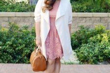05 a pink lace knee dress, a white duster, printed shoes and a camel bag for work