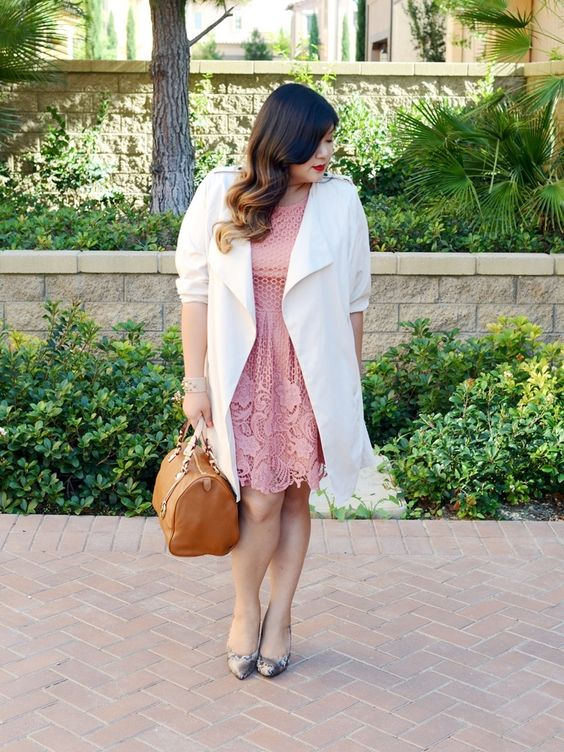 a pink lace knee dress, a white duster, printed shoes and a camel bag for work