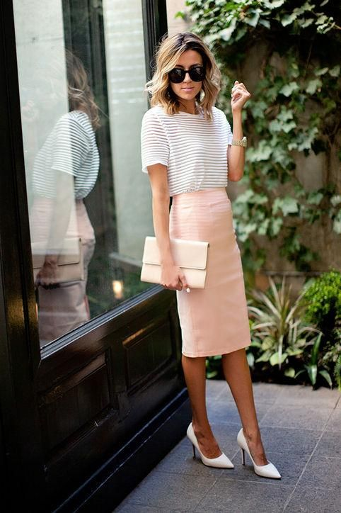 a striped t-shirt, a blush knee pencil skirt, white shoes and a white bag