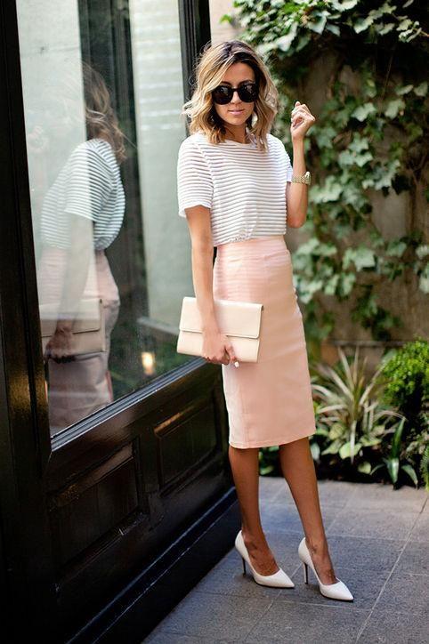 a striped t-shirt, a blush knee pencil skirt, white shoes and a white bag
