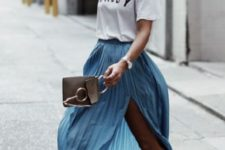 05 a white printed tee, a blue pleated maxi, white sneakers and a little brown bag