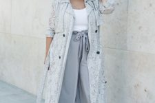 05 a white top, grey culottes, a grey trench, blush shoes for a fall office look