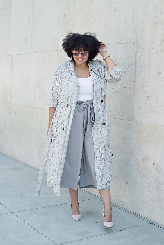 a white top, grey culottes, a grey trench, blush shoes for a fall office look