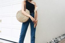 05 blue cropped jeans with a raw edge, a black one shoulder top, bblack slippers and a straw bag