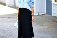 06 a black midi, a chambray blue shirt, strappy black heels